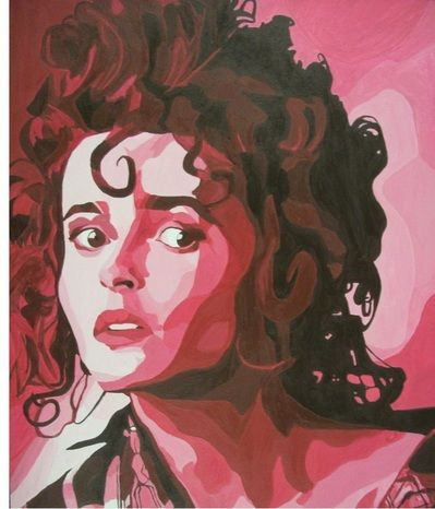 How to do: Monochromatic Painting, using tempera paints, of Helena Bonham Carter 8 x 10 by artist Jessica Hoffman