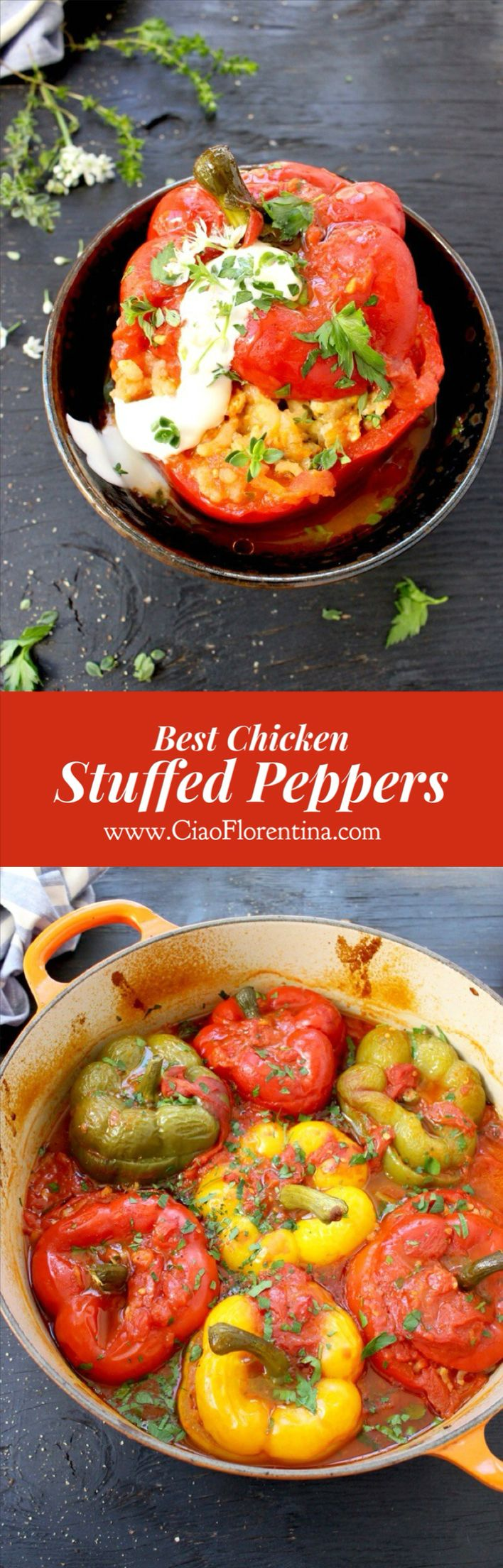 Best Stuffed Peppers Recipe ( Easy) with Chicken and Risotto Rice | CiaoFlorentina.com @CiaoFlorentina