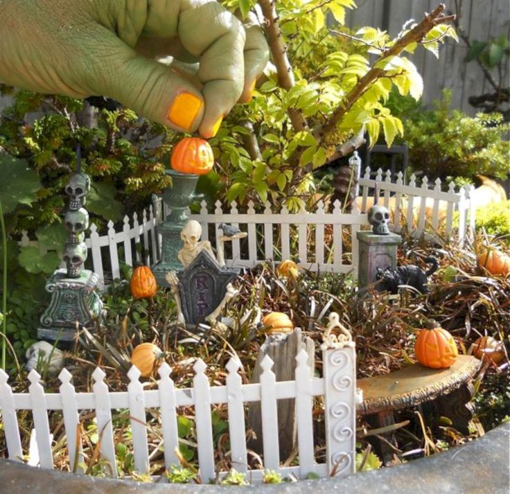 Cool 41 Cute and Fun Halloween Fairy Garden Decoration Ideas. More at https://trendecor.co/2017/10/31/41-cute-fun-halloween-fairy-garden-decoration-ideas/