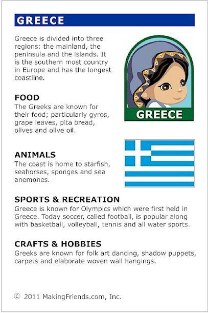 Greece Fact Card for your Girl Scout World Thinking Day or International celebration. Free printable available at MakingFriends.com. Fits perfectly in the World Thinking Passport, also available at MakingFriends.com