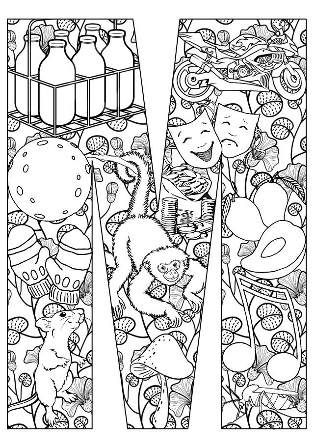 101 best images about colouring pages for the adults on pinterest - Letter M Colouring Pages