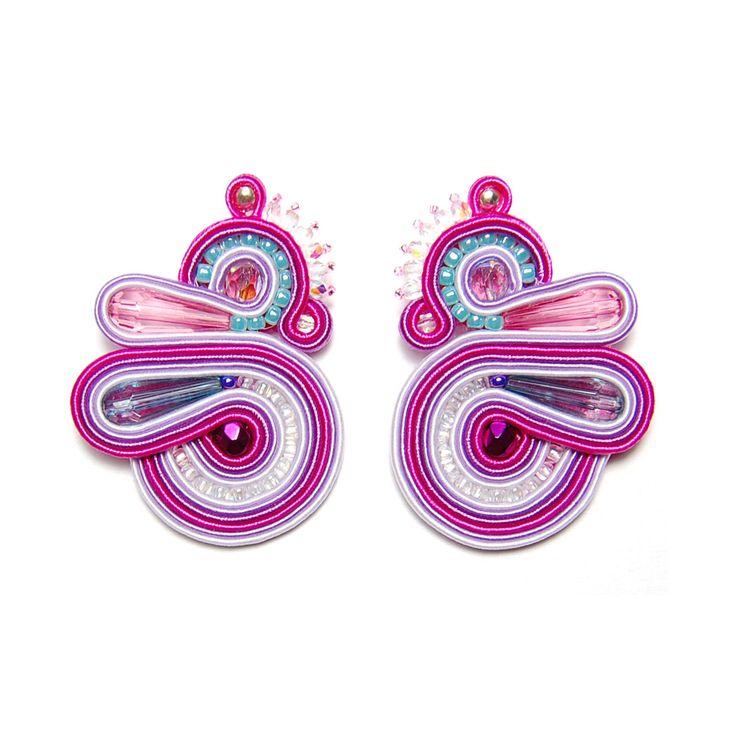 Soutache earrings pink purple blue jewelry handmade shop gift for sale to buy orecchini pendientes oorbellen Ohrringe brincos örhängen by SoutacheFlowOn on Etsy
