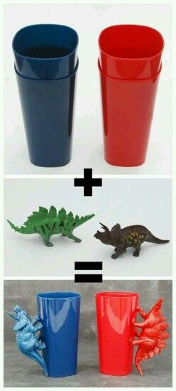 http://www.whitelightsonwednesday.com/diy-dinosaur-handle-cups/ walmart has the 4 pack of them cups $1. 97. And dollar tree has a the dinosaur in a 2 pack for a dollar. Great for rayleo class since it's all boys
