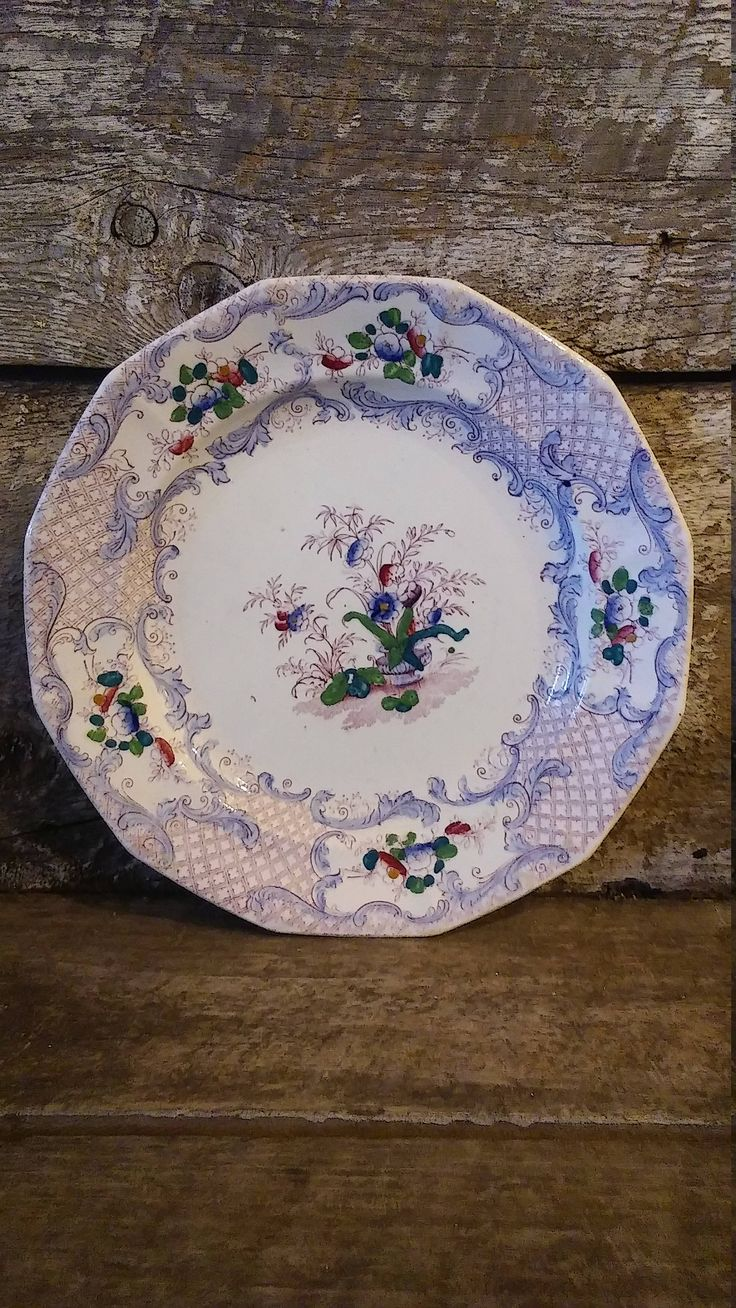 Antique Soft Paste Purple Hand painted Side Plate cabinet plate housewarming plate wedding gift bridal shower gift gifts for women 1800s by CottonCreekCottage on Etsy