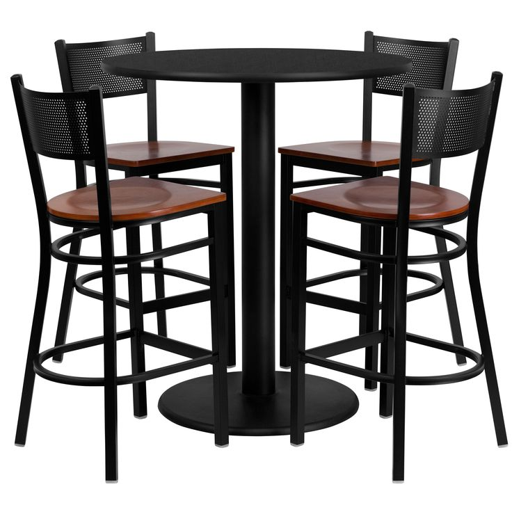 Flash Furniture 36 Inch Round Black Laminate Table Set With Four (4) Cherry