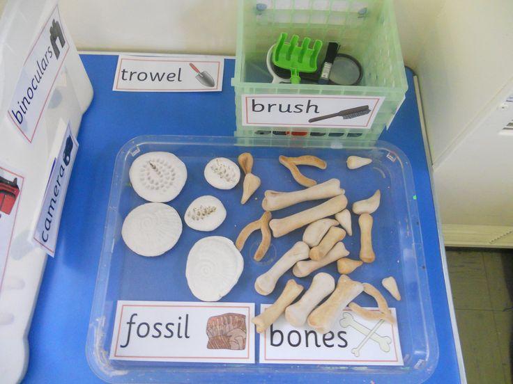 Salt dough dinosaur bones and fossils for role play dig