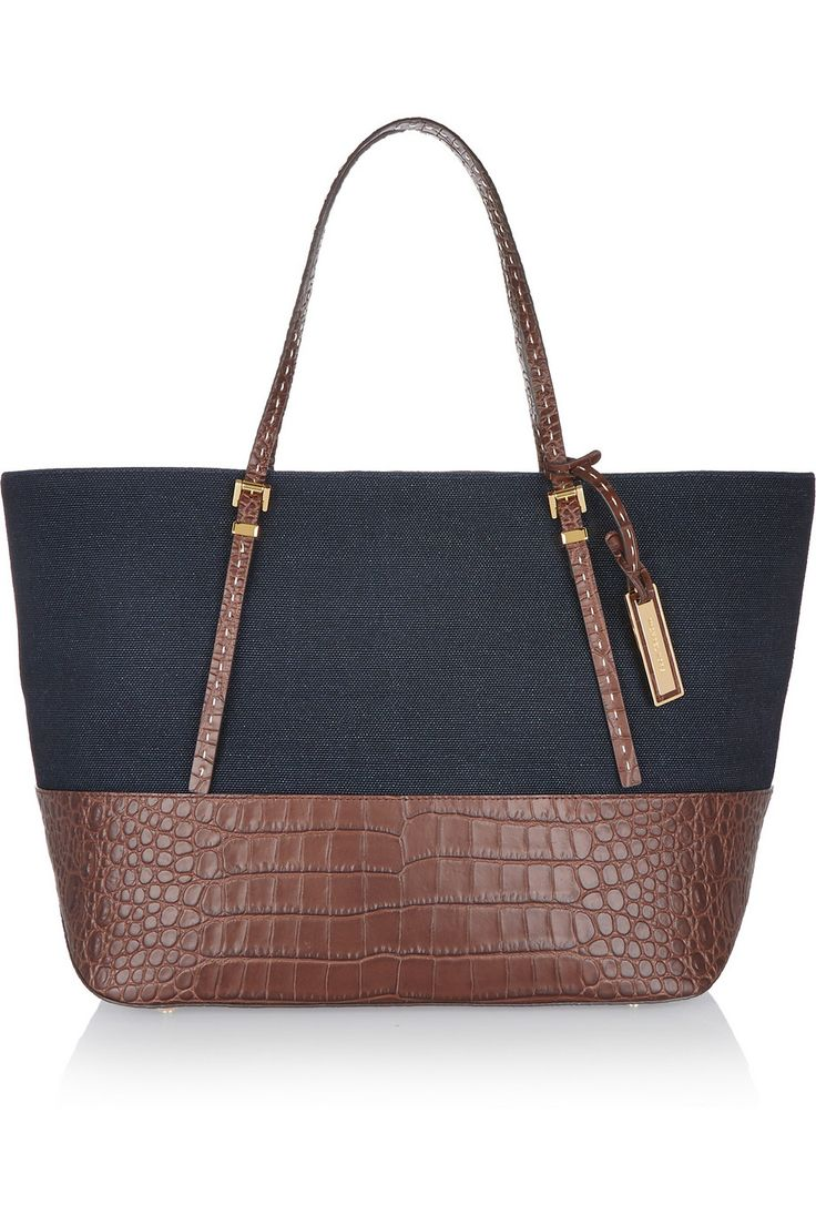 Croc-effect leather-trimmed canvas tote | MICHAEL KORS