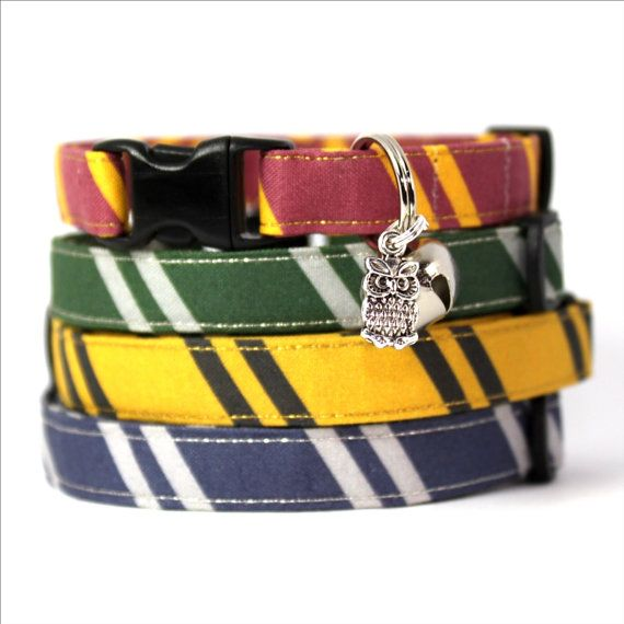My wizard cat collars are made from fabric I designed, with school tie style diagonal stripes. They also have a cute owl charm too! Theyre perfect if