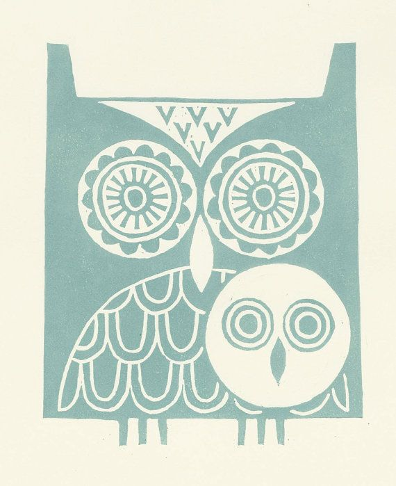 Hey, I found this really awesome Etsy listing at https://www.etsy.com/listing/124977482/pale-green-owls-lino-print
