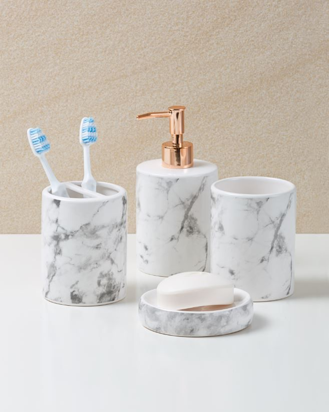 Delightful Marble Look And Rose Gold Bathroom Accessories From Only $3. In Stores Now
