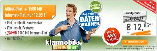 1,5GB Vodafone Allnet Flat für 12,85€ http://www.simdealz.de/vodafone/klarmobil-allnet-spar-flat-l-aktion/