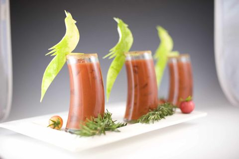 Could do without the pretentious bird-shaped garnish but this Bloody Mary recipe sounds FANTASTIC!