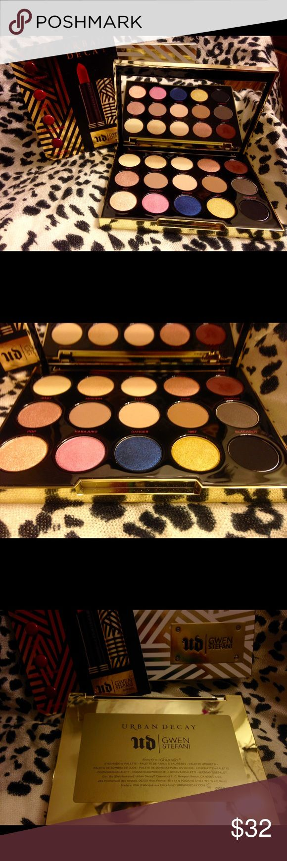 """Urban Decay Gwen Stefani Palette - Limited Editon Like new! Some of the shimmery colors have been swatched as well as """"punk"""". It comes in the box and with the unopened Gwen Stefani lipstick samples. I'm only selling because i'm looking for something different and never reach for this one like i thought i would. 100% authentic. This palette is no longer available in stores as it is limited edition. Urban Decay Makeup Eyeshadow"""