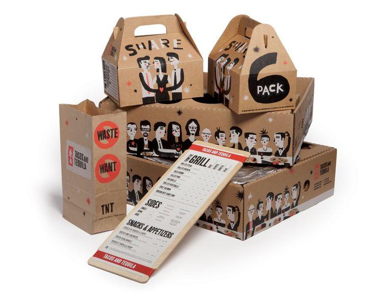 Упаковка для ресторана быстрого питания Tacos and Tequila  Дизайнер из Далласа Brandon DeLoach создал дизайн упаковки для продуктов питания ресторана Tacos and Tequila. Дизайн упаковки очень оригинальный, создано много персонажей, разработан логотип и шрифт. Коробки для блюд на вынос изготовлены из гофрокартона: самосборные коробки и подносы-лотки. Гофрокартон довольно редко используется ресторанами быстрого питания в качестве материала для упаковки, поэтому упаковка Tacos and Tequila…