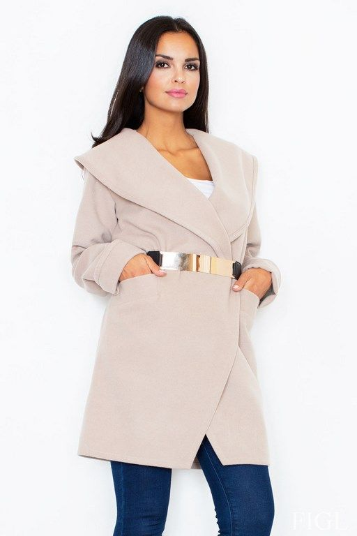 beige coat with a decorative collar