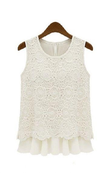White O-neck Pleating Hem Lace Splicing Chiffon Vest, #amazing #summer #dress, #crochet