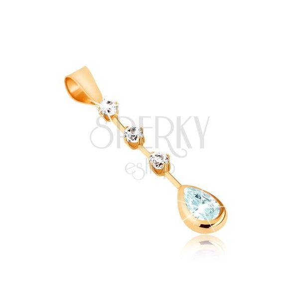 Zlatý přívěsek 375 - světle modrý slzičkový topas, tři kulaté čiré zirkony na tyčince | Šperky Eshop