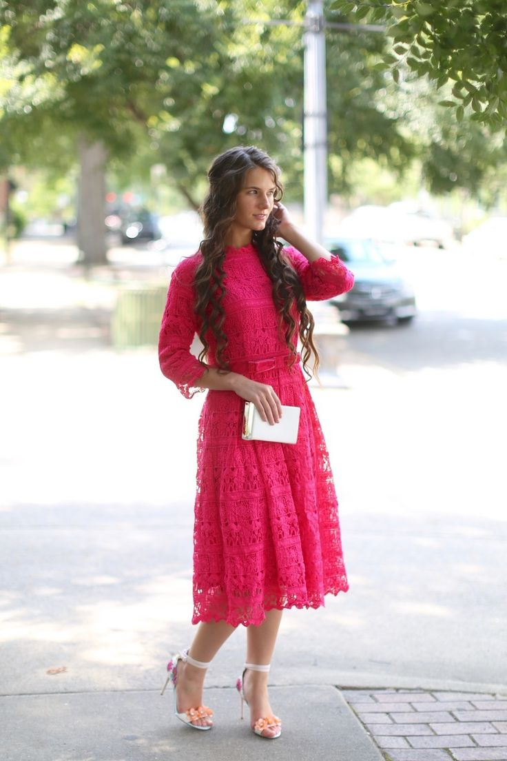 Modest Fashion   Modest Bridesmaid Dresses   Modest Dresses   Hot Pink Lace Croquet in the Garden Dress by Dainty Jewell's