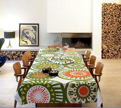 Love this Marimekko tablecloth. Beautiful, almost festive colors!