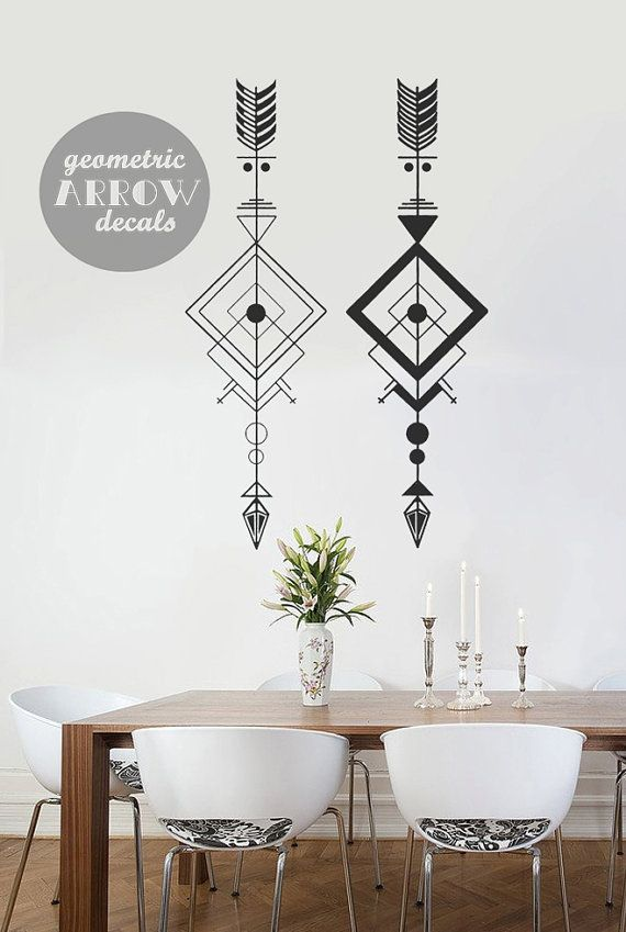 2 Geometric Arrow Wall Decals // Light & Bold // Size 80cm (high) x 51cm wide    ------------------------------------------------------  ABOUT WALL