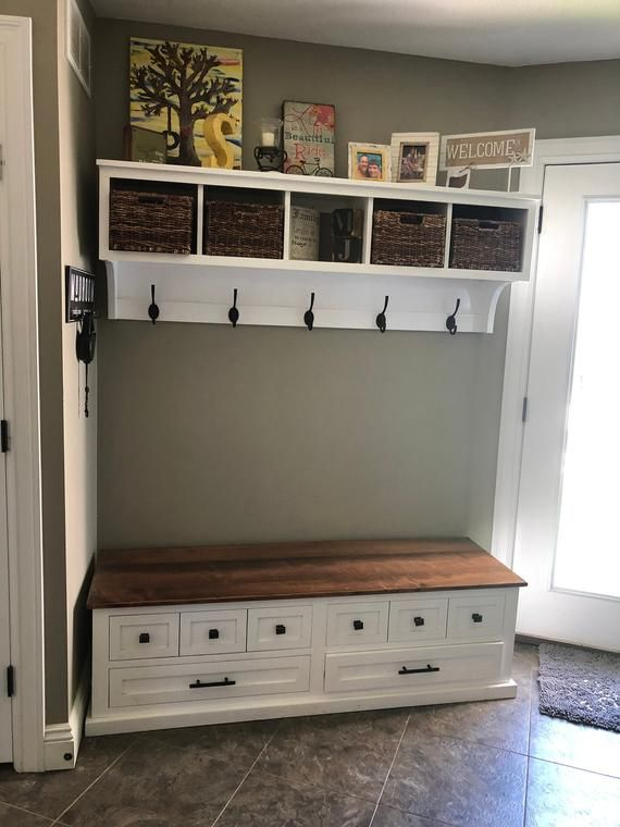 Entryway Coat Rack And Bench Wall Storage Cubby With Matching