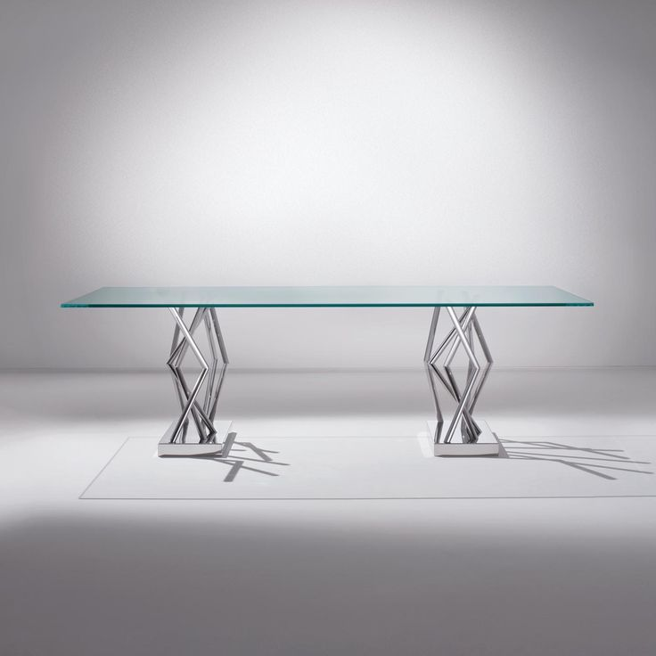 Table SA 07 by Sottsass Associati. High table with a glossy steel base and top in ultra-clear transparent glass. | Laurameroni