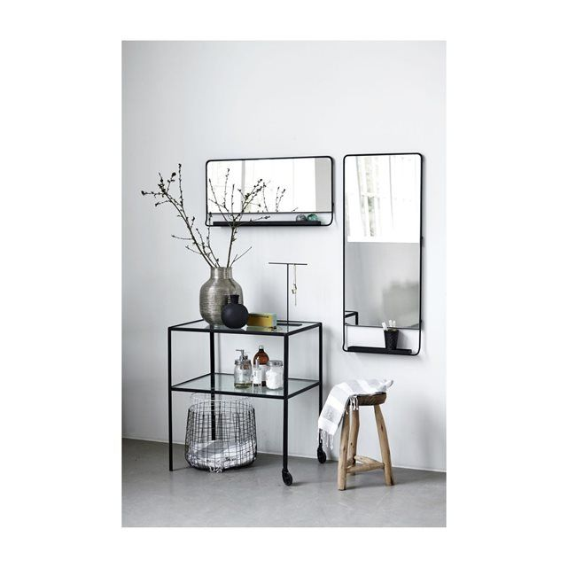Miroir mural horizontal chic avec tablette et bord noir for Grand miroir mural horizontal