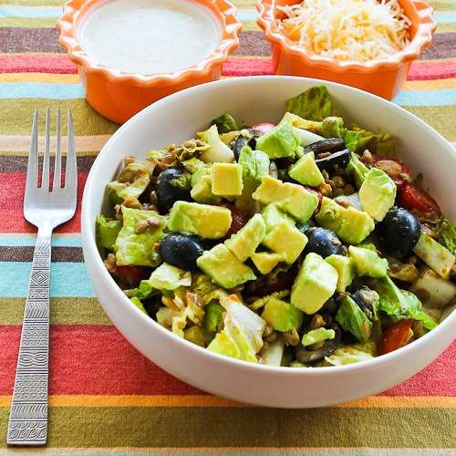 This Vegetarian Lentil Taco Salad with Tomatoes, Olive, and Avocado can easily be vegan if you skip the optional Ranch dressing and cheese.