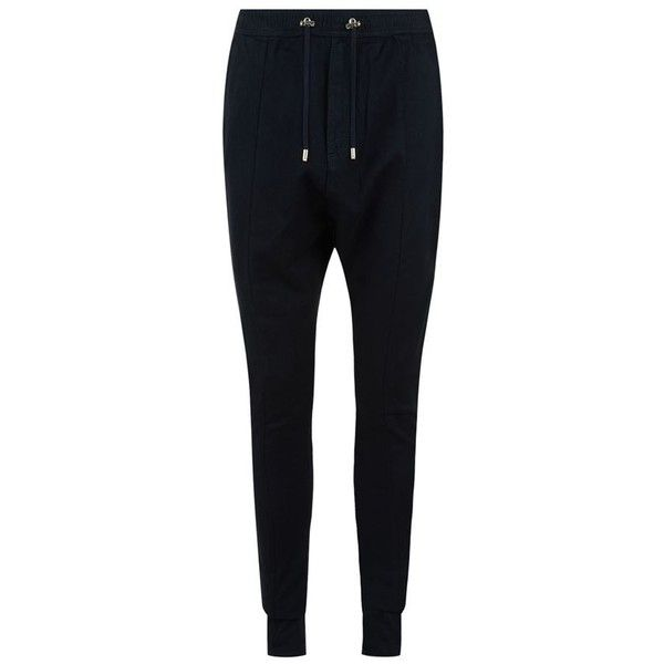 Balmain Casual Denim Trousers ($1,095) ❤ liked on Polyvore featuring men's fashion, men's clothing, men's pants, men's casual pants, mens drawstring pants, mens slim fit pants, mens stretch waist pants, mens elastic waistband pants and mens denim pants