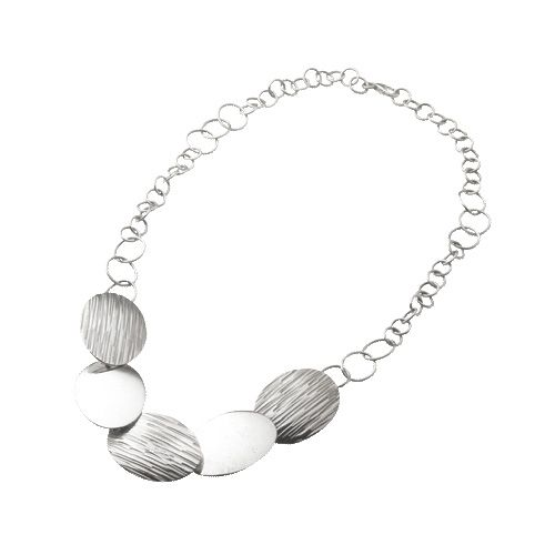 Fair Trade Celebrate textures with this sterling silver necklace combining polished and etched ovals on a sterling silver chain; made by Fermin