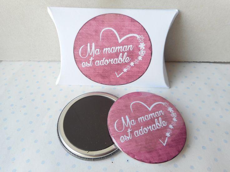 """Grand magnet + boite cadeau """"ma maman est adorable"""" blanc, rose, fête des mères : Accessoires de maison par miss-coopecoll"""