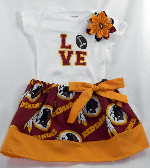 Washington Redskins NFL Embroidered onesie, skirt, and headband for baby girl, NB-18 months on Etsy, $40.00