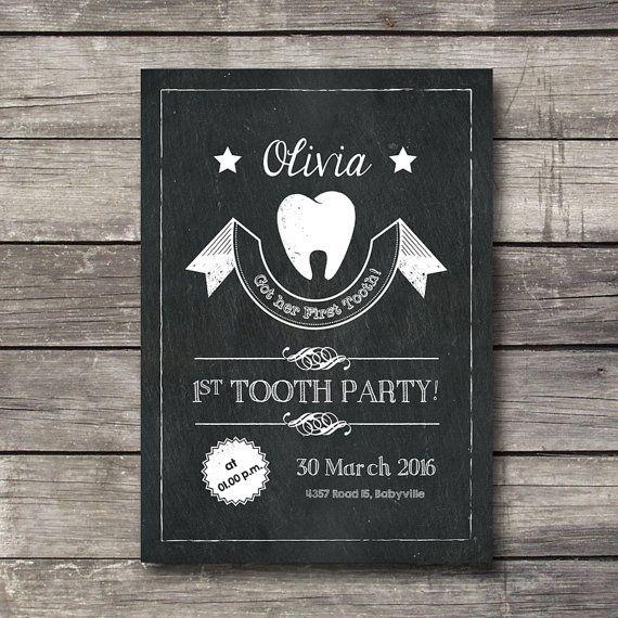 Eerste tand uitnodigingskaart schoolbord blackboard door nhlcards