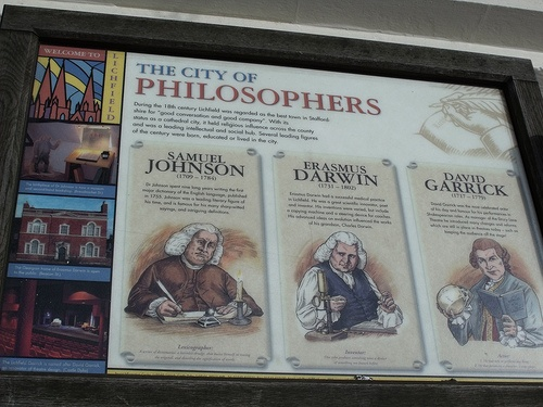 The City of Philosophers - Dr Johnson's birthplace - historical information sign - The City of Philosophers - Dr Johnson\'s birthplace - historical information sign