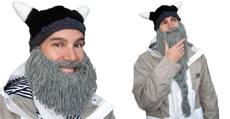 "Barbarian Beard Head Winter Caps - I got the pattern for a similar but crocheted version of these (""beardos"") for my bros, hubby, & men-in-laws for Christmas, but this idea looks easier if I run out of time!!"