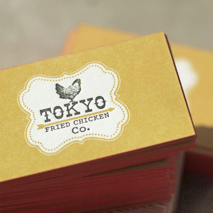 Business cards for Tokyo Fried Chicken • standard size • 220# Crane's Lettra • 2/2 color • painted edge • designed by James Iida