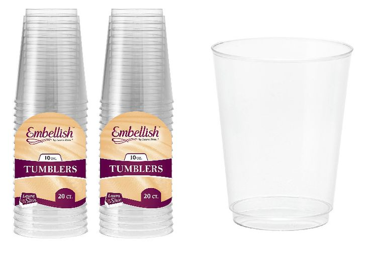 Clear Plastic Party Tumblers Disposable Cups Drinking Serving Set 10oz 40 Count #ClearPlasticTumblers