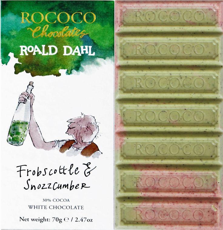 """""""We is in dream Country"""" the Big Friendly Giant said. This is where all dreams is beginning"""".   Till den här sagolika chokladen har Chantal inspirerats av boken Den stora snälla jätten. Rococos version av """"Frobscottle and Snozzcumber"""" är något utöver det vanliga. Den dubbelt tonade vita chokladen är fylld av fruktiga smaker som får dig att drömma dig bort.  #Rococo #RoaldDahl #BFG #Denstorasnällajätten #choklad #smakerutangränser #Beriksson"""