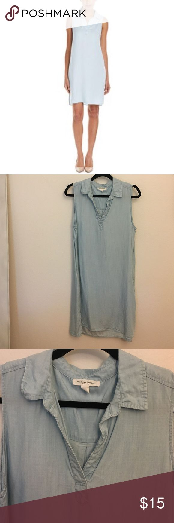 Beach lunch lounge denim shift dress Brand: beach lunch lounge.   Denim shift dress with side pockets.  Size large.  Never worn, no tags. Very soft brushed denim. beach lunch lounge Dresses