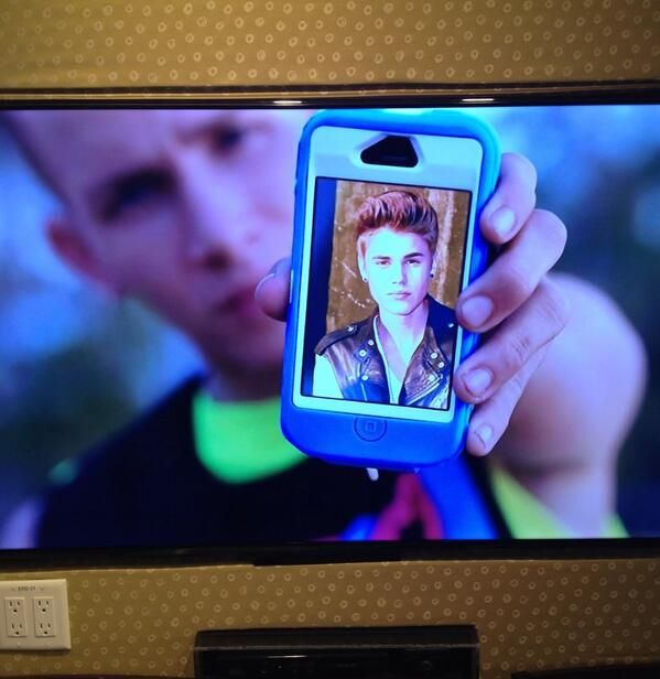 Best part of Teen Beach Movie and then they scream their scared little screams and I think 'if I saw that Justin bieber picture I would be scared too. Lol