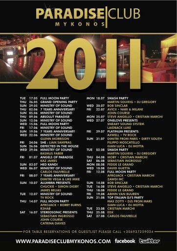 Paradise Club Mykonos line-up 2011