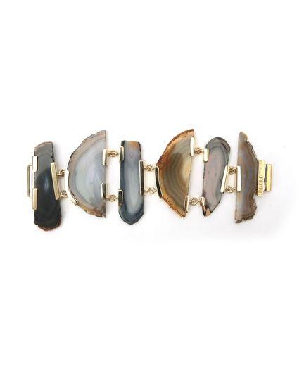 Bracciale in metallo dorato con placche in agata naturale.
