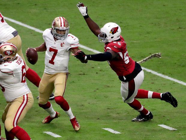 49ers vs. Cardinals:  23-20, Cardinals  -  November 13, 2016  -    San Francisco 49ers quarterback Colin Kaepernick (7) is sacked by Arizona Cardinals outside linebacker Chandler Jones (55) during the first half of an NFL football game, Sunday, Nov. 13, 2016, in Glendale, Ariz. (AP Photo/Rick Scuteri)
