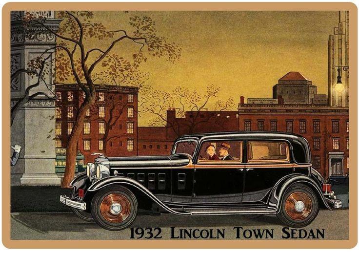 1932 Lincoln Town Sedan Auto Refrigerator / Tool Box  Magnet Gift Card Insert