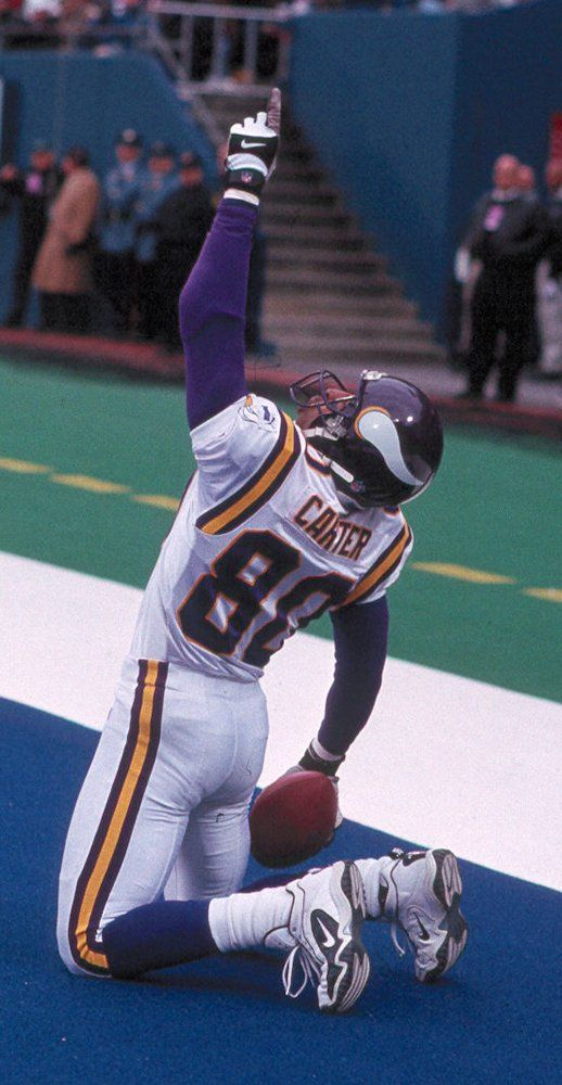 "Chris Carter-Vikings get him with one my favorite quotes ""All he does is catch touchdowns"" thanks Buddy Ryan"