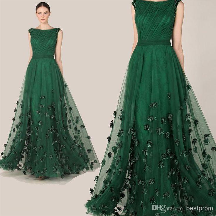 Wholesale 2014 Formal Evening Dress - Buy Fashionable Elegant Zuhair Murad Dress Emerald Green Tulle Long A-Line Cap Sleeve Flowers Evening Dress Prom Red Carpet Gown 2014, $127.54 | DHgate.com