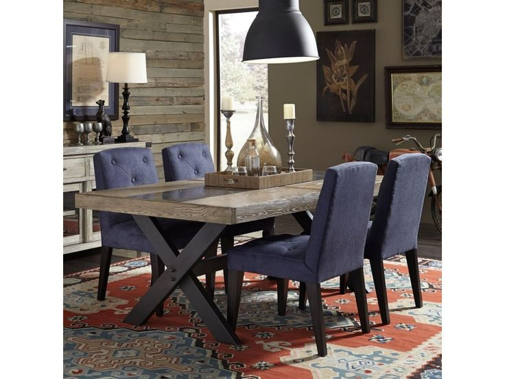 Broyhill Furniture Bedford Avenue 5 Piece Urban Picnic Table and Denim Upholstered Chair Set - Darvin Furniture - Dining 5 Piece Sets