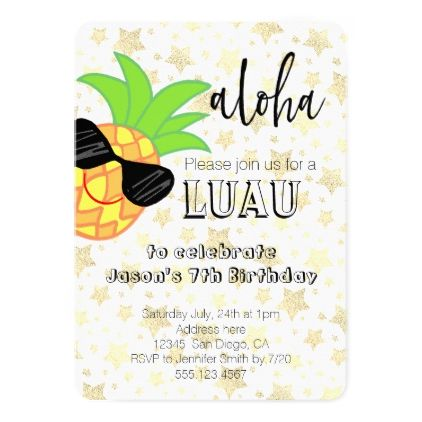 #luau party cartoon pineapple design card - #birthday #gifts #giftideas #present #party