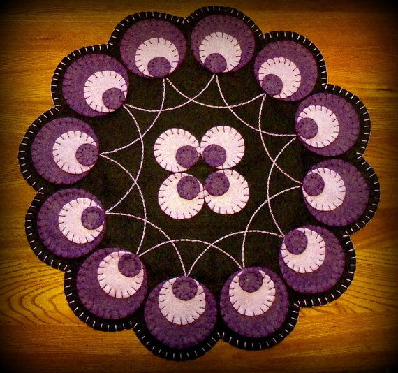 Hand Stitched Primitive Purple Circle Pennies Wool-Felt Penny Rug - Candlemat