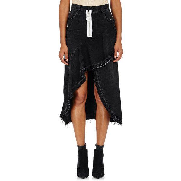 Off-White c/o Virgil Abloh Women's Zip-Detailed Denim Midi-Skirt ($595) ❤ liked on Polyvore featuring skirts, black, peplum skirt, calf length skirts, midi skirt, vintage midi skirt and denim skirt